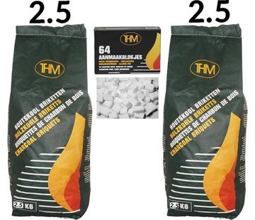 THM 2X houtskoolbriketten van 2.5 KG inclusief aanmaakblokjes 64 Stuks - Barbecue - BBQ - 2 Stuks - Totaal 5 KG