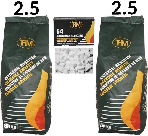 THM 2X charcoal briquettes of 2.5 KG including firelighters 64 Pieces - Barbecue - BBQ - 2 Pieces - Total 5 KG