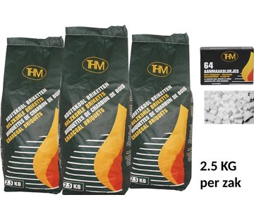 THM 3X charcoal briquettes of 2.5 KG including firelighters 64 Pieces - Barbecue - BBQ - 3 Pieces - Total 7.5 KG