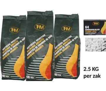 THM 3X houtskoolbriketten van 2.5 KG inclusief aanmaakblokjes 64 Stuks - Barbecue - BBQ - 3 Stuks - Totaal 7.5 KG