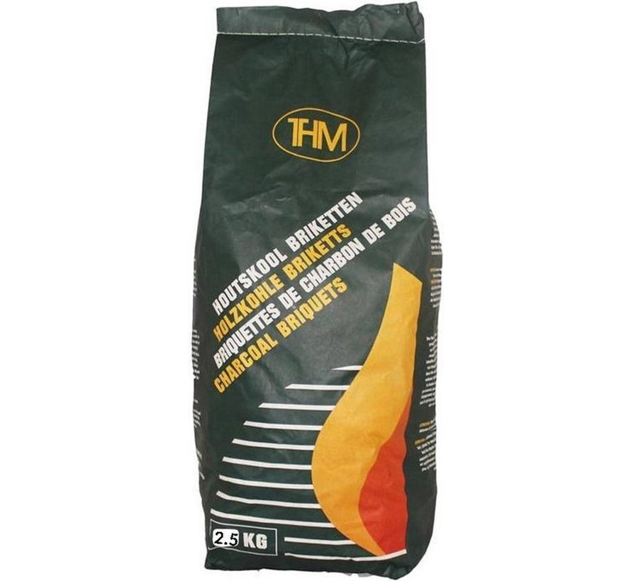 3X charcoal briquettes of 2.5 KG including firelighters 64 Pieces - Barbecue - BBQ - 3 Pieces - Total 7.5 KG