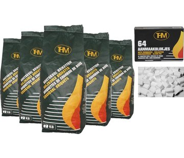 THM 5 X charcoal briquettes 2 Kg each -including firelighters 64 Pieces - Barbecue - BBQ - 5 Pieces