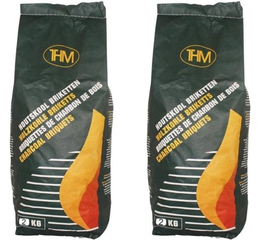 5 X charcoal briquettes 2 Kg each -including firelighters 64 Pieces - Barbecue - BBQ - 5 Pieces
