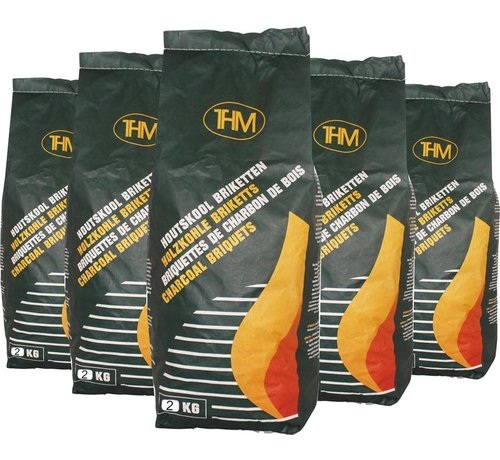 THM 5X charcoal briquettes of 2 KG - 5 bags charcoal briquettes - Barbecue - BBQ - 5 Pieces