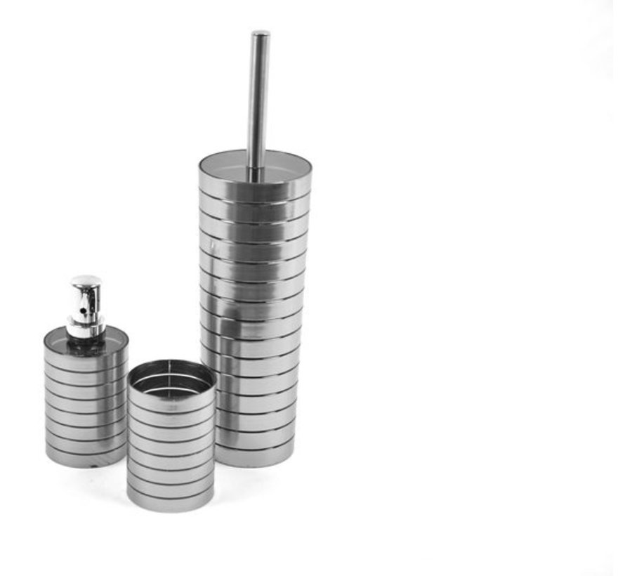 Toiletborstel - Premium Wc borstel - Toiletborstel in houder - Toiletborstelhouder - Wc borstel - Wcborstel met Toilethouder - Toilethouder met toiletborstel set - Zeep dispenser - Tandpasta houder - Tanden borstelhouder - RVS look toiletborstel