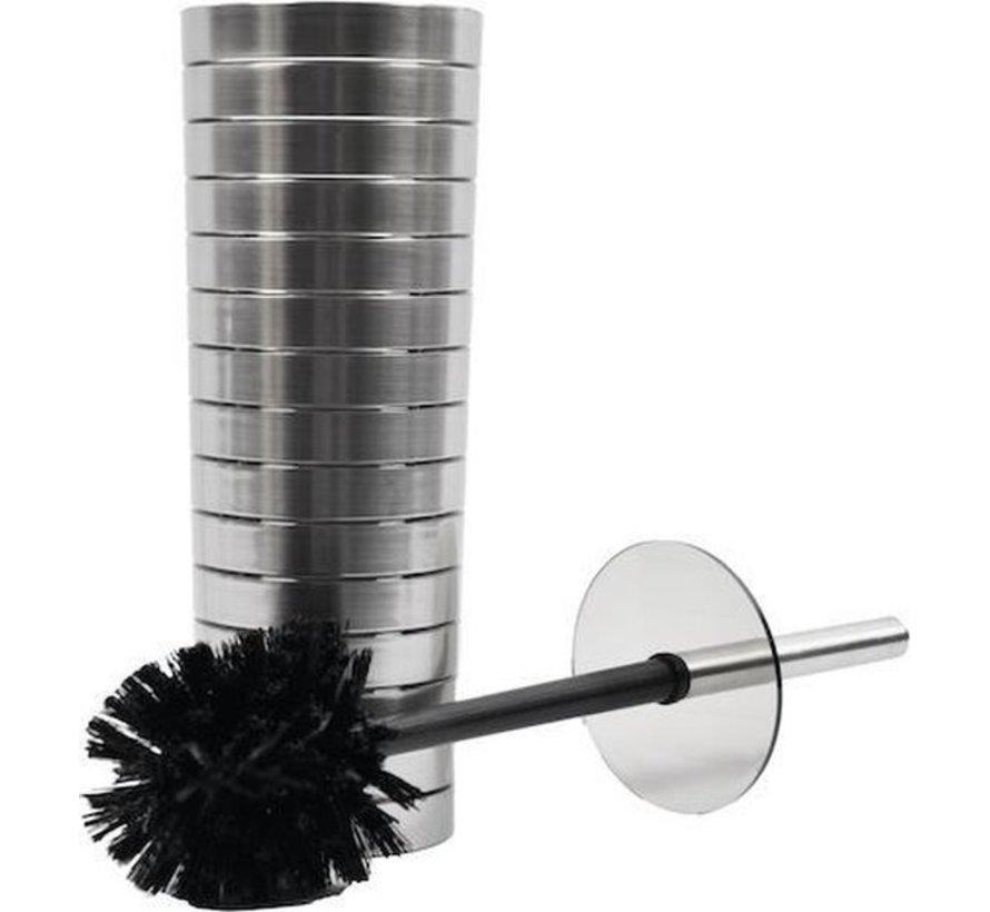 3 pieces Toilet brush - Plastic toilet brush - Stainless steel look toilet brush - Toilet brush holder 37x10cm Brush Holder with WC Brush Toilet Brush in Round Holder