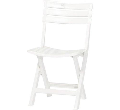 Discountershop 1x Robuuste kunststof klapstoel | Wit | tuinstoel bistrostoel balkonstoel campingstoel |Opvouwbaar | Relaxen |46 cm x 41 cm x 78 cm