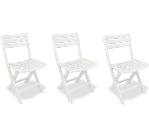 Discountershop 3x Robust plastic folding chair   White   Garden chair Bistro chair Balcony chair Camping chair  Foldable   Relaxing  46 cm x 41 cm x 78 cm   Top!