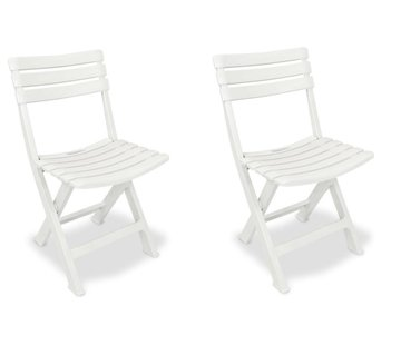 Discountershop 2x Robust plastic folding chair   White   Garden chair Bistro chair Balcony chair Camping chair  Foldable   Relaxing  46 cm x 41 cm x 78 cm   Top!