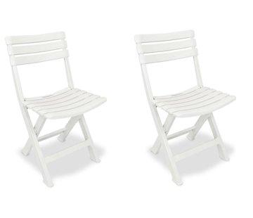 Discountershop 2x Robuuste kunststof klapstoel | Wit | Tuinstoel Bistrostoel Balkonstoel Campingstoel |Opvouwbaar | Relaxen |46 cm x 41 cm x 78 cm | Topper!