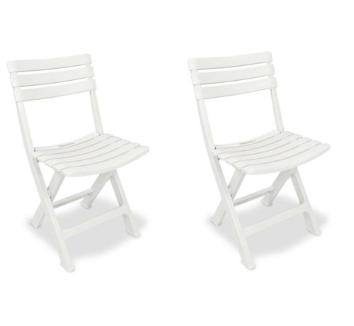 Discountershop 2x Robust plastic folding chair | White | Garden chair Bistro chair Balcony chair Camping chair |Foldable | Relaxing |46 cm x 41 cm x 78 cm | Top!
