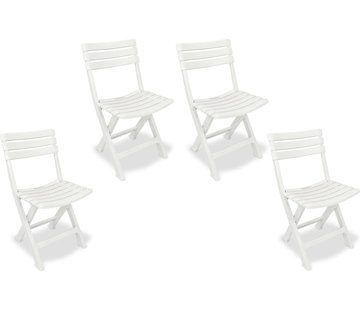 Discountershop 4x Robust plastic folding chair   White   Garden chair Bistro chair Balcony chair Camping chair  Foldable   Relaxing  46 cm x 41 cm x 78 cm   Top!