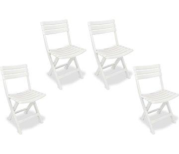 Discountershop 4x Robuuste kunststof klapstoel | Wit | Tuinstoel Bistrostoel Balkonstoel Campingstoel |Opvouwbaar | Relaxen |46 cm x 41 cm x 78 cm | Topper!