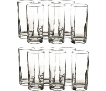 Merkloos 12 Pieces Glass water glasses - 12 long drink glasses 27 cl content