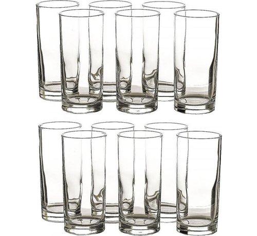 Merkloos 12 Stuks Glazen waterglazen - 12 longdrinkglazen 27 cl inhoud