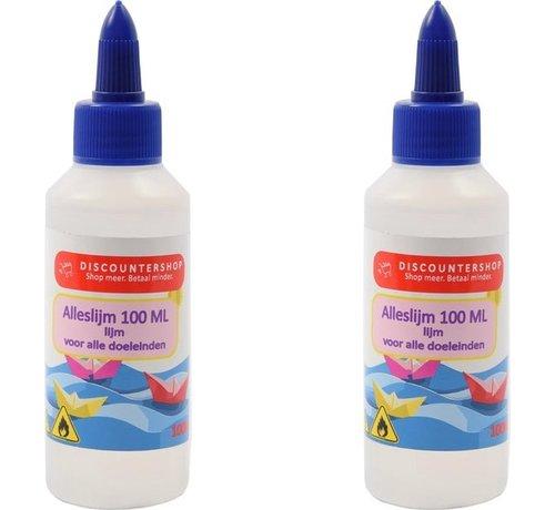 Discountershop 2 X All purpose glue 100ML - Glue - Glue for paper - Glue for cardboard - Glue for textiles - Glue for polystyrene foam.