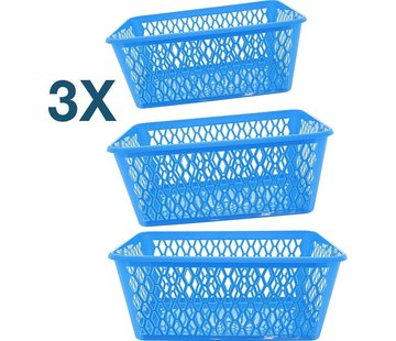 Merkloos 3x Opbergbox - Opbergmandje - Kantoor opbergbox - opbergmand kantoor - Opbergmand 37,5 x 26 x 15 cm - 15 ltr. ca