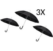 Merkloos 3 X Paraplu - Automatic windparaplu - Stevig & Windroof - Windproof - Ø 110 cm - Zwart- Top Kwaliteit - Perfecte Kwaliteit