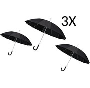 Merkloos 3 X Umbrella - Automatic wind umbrella - Sturdy & Windproof - Windproof - Ø 110 cm - Black - Top Quality - Perfect Quality