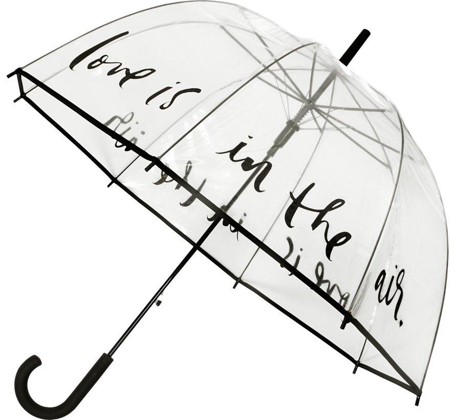 Paraplu - Koepelparaplu Transparant - Koepelparaplu PVC Diameter 85 cm - automaat - Love is in the Air !