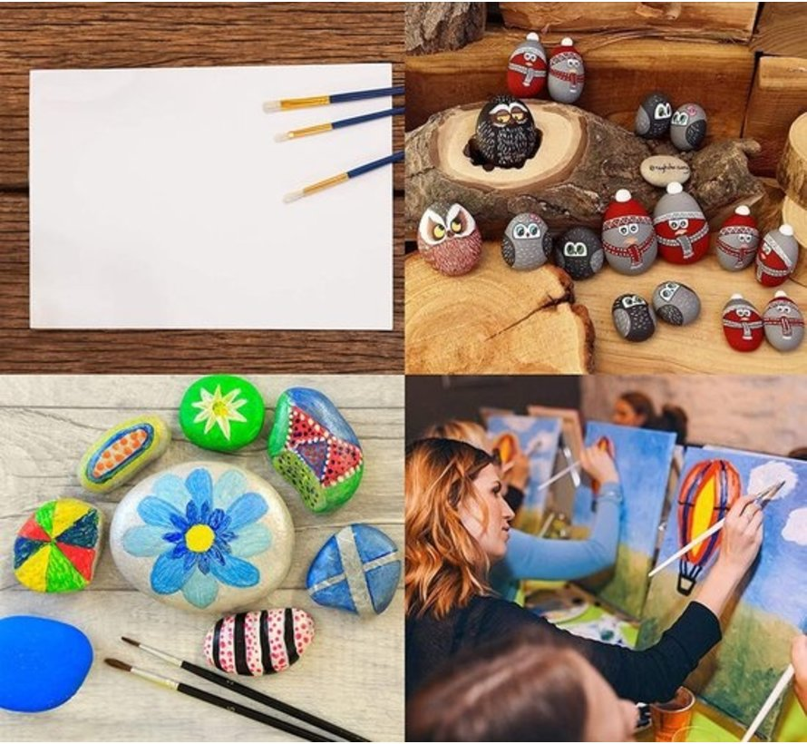 Acrylic Paint Set of 12 Colors Tubes |12 x 12 ml| High Quality Non Toxic Rich Pigments Perfect For Paper Stone Wood T-Shirt Canvas, Ideal For Kids And Adults, Beginners Or Professional
