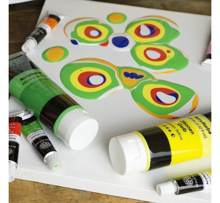 Acrylic paint set 12 tubes 12ml - highly pigmented water-based | acrylic paint for acrylic painting | acrylic paint for stones | Non-toxic | watercolor colors
