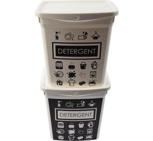 Merkloos 2x Waspoeder box   EHBO-benodigdheden  multibox 6liter  Handig  reinigingsmiddel   23x18x24,5cm 300g  was tabletten  Poedercontainer met hengsel   Topper!
