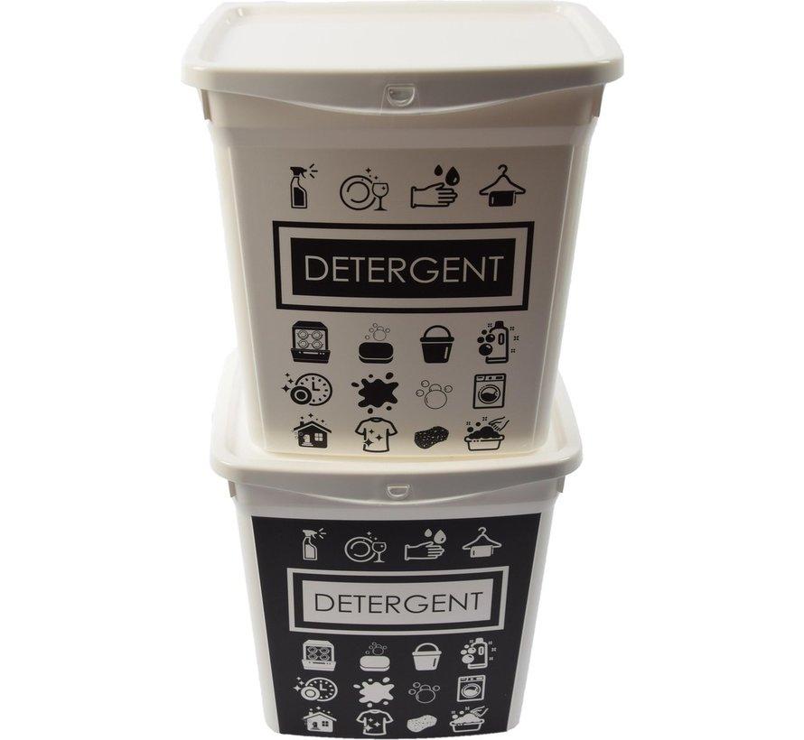 2x Waspoeder box   EHBO-benodigdheden  multibox 6liter  Handig  reinigingsmiddel   23x18x24,5cm 300g  was tabletten  Poedercontainer met hengsel   Topper!