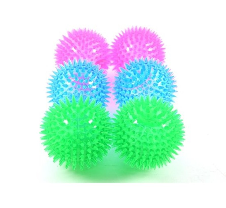 6x Hedgehog ball with sound   thorn ball  happy coloring   Dog massage ball   dog toy spiky   Colorful   dog toy  toy dog   Bouncing Hedgehog Ball   Topper! Size 6.5 cm - Large