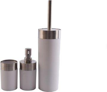 Merkloos Badkameraccessoires Luxe Badkamerset |badkameraccessoires | rvs mat Wit |3 delig | zeeppompje | zeepdispenser | beker | tandenborstelhouder | toiletborstel met houder