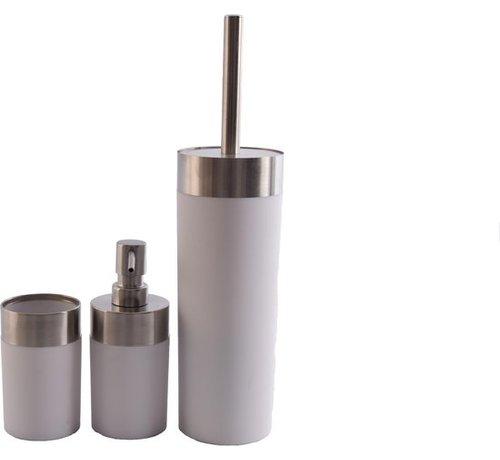 Merkloos Luxe Badkamerset |badkameraccessoires | rvs mat Wit |3 delig | zeeppompje zeepdispenser beker   tandenborstelhouder