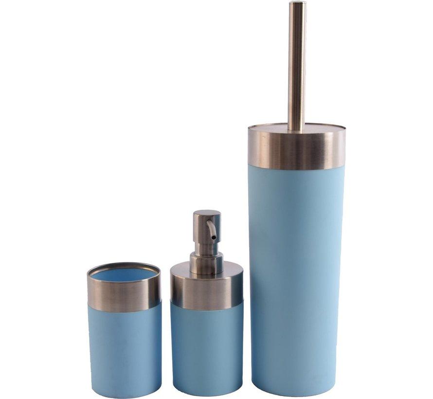 Badkameraccessoires - Luxe Badkamerset  badkameraccessoires   rvs mat blauw  3 delig   zeeppompje   zeepdispenser   beker   tandenborstelhouder   toiletborstel met houder