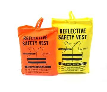 Merkloos 2x veiligheidsvest in mooi zak oranje/geel| Veilig safety | Veiligheidshesje | Bouw | Verkeer | veiligheidsvest voor veiligheidswaarschuwing - Oranje/Geel