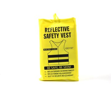 Merkloos 4x safety vest in nice pocket Yellow| Safe safety | Safety vest | Construction | Traffic | Safety Warning Vest - Yellow