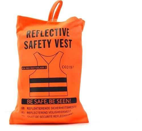 Merkloos 4X veiligheidsvest in mooi zak oranje Veilig safety Veiligheidshesje Bouw Verkeer veiligheid veiligheidswaarschuwing