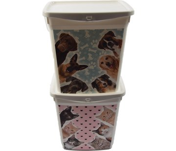 Merkloos set of 2x Feed storage   Cat food container   Dry food   Cat/kitten   Animals   Storage box   food container   6liter 23x18x24.5cm 300g   pet food  Top!