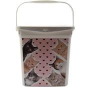 Merkloos voeropslag | Voercontainer | Kat/kitten | Dieren | Bewaarbox | voedselcontainer | 6liter 23x18x24,5cm | dierenvoeding| Topper!