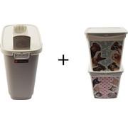 Merkloos Set van 3x Voeropslag Hond en Kat | 6+4liter| Voedercontainer |Voerton |Hondenvoer/kattenbak |Katten |Voer | Kattencontainer | Droogvoer |Voedselbak | Container |Kattenbakvulling |Hondenbakvulling