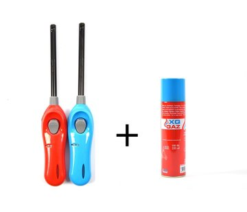 XQ 1x Gas canister butane gas bottle 250 ml filling Incl 2x gas lighter 26cm barbecue lighters