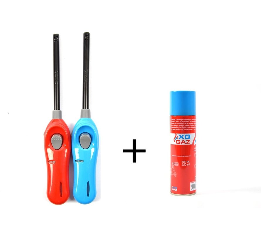 1x Gas canister butane gas bottle 250 ml filling Incl 2x gas lighter 26cm barbecue lighters