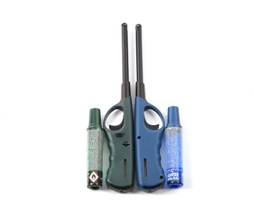 Discountershop Lighter 2 pcs with refill - Gas lighter with refill 2X Green and Navy - Refillable Refillable Lighter - Child protection - Flame adjustment - Fuel indicator -