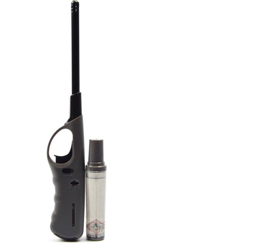 Aansteker 2 stuks met navulling - Gasaansteker met navulling 2X Grijs en Zwart - Hervulbare Navulbare Aansteker - Kinderbescherming - Vlamaanpassing - Brandstof indicator -
