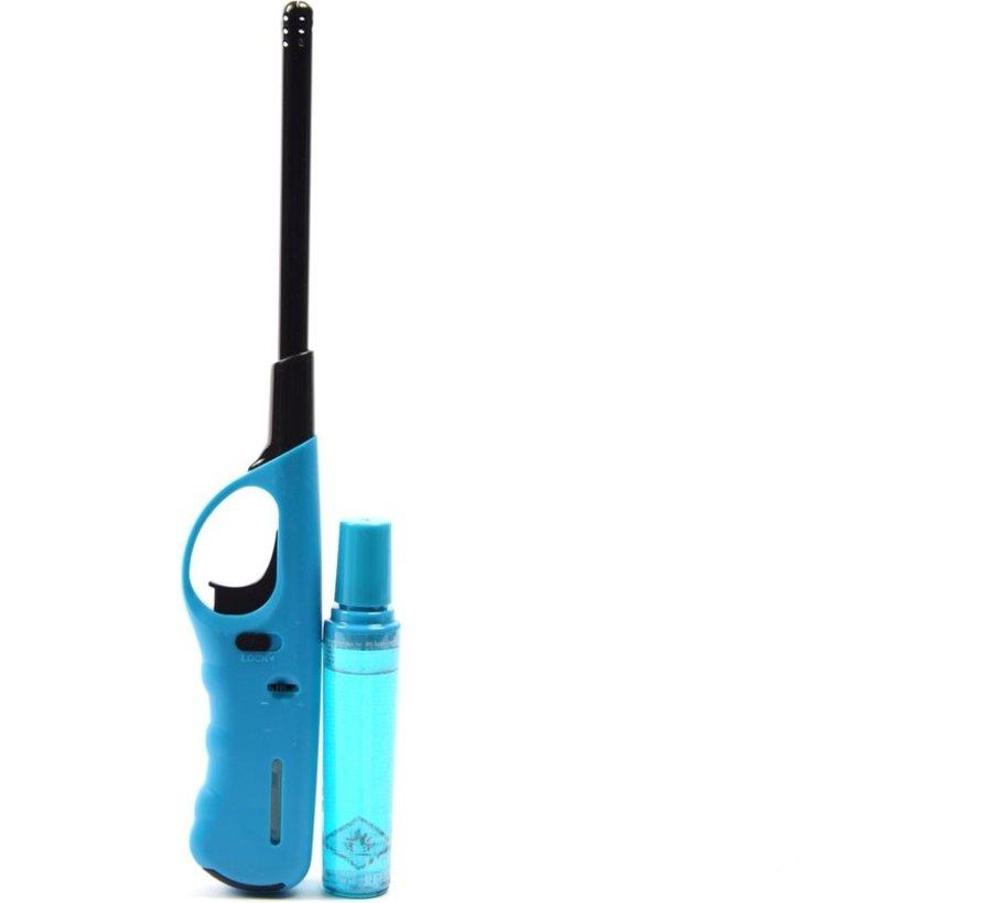 Aansteker 2 stuks met navulling - Gasaansteker met navulling 2X Lichtblauw en Blauw - Hervulbare Navulbare Aansteker - Kinderbescherming - Vlamaanpassing - Brandstof indicator -