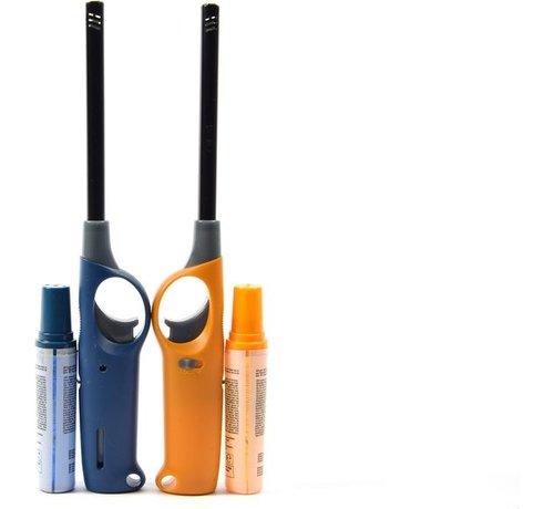 Merkloos Gasaansteker met navulling 2X Geel en Blauw - HervulbareNavulbare Aansteker - Kinderbescherming - Vlamaanpassing -