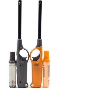 Merkloos Gasaansteker met navulling 2X Geel en Grijs - HervulbareNavulbare Aansteker - Kinderbescherming - Vlamaanpassing - Branstofindicator -