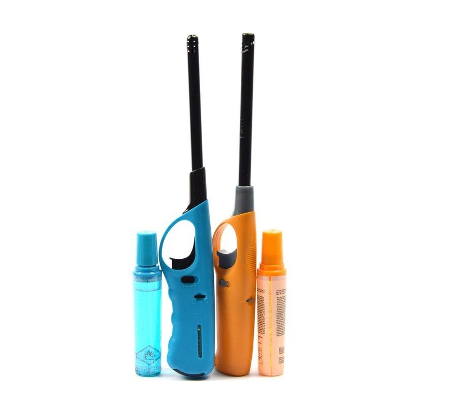 Gasaansteker met navulling 2X Geel en licht blauw - HervulbareNavulbare Aansteker - Kinderbescherming - Vlamaanpassing - Branstofindicator -