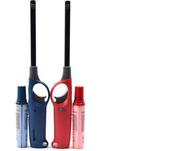 Merkloos Gasaansteker met navulling 2X Rood en Blauw - HervulbareNavulbare Aansteker - Kinderbescherming - Vlamaanpassing - Branstofindicator -
