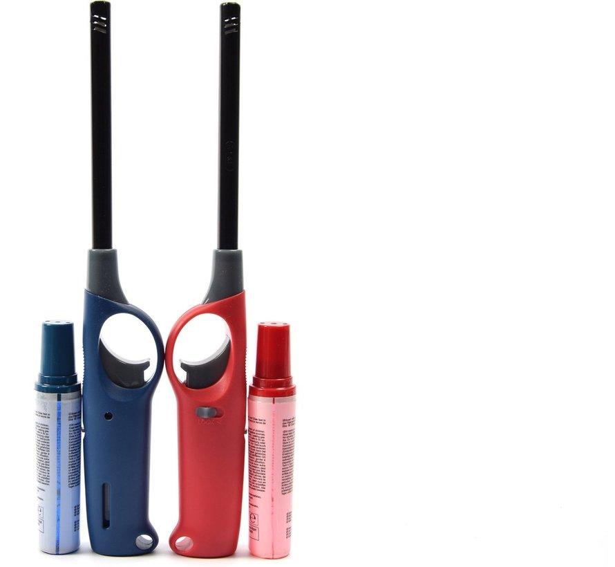 Gasaansteker met navulling 2X Rood en Blauw - HervulbareNavulbare Aansteker - Kinderbescherming - Vlamaanpassing - Branstofindicator -