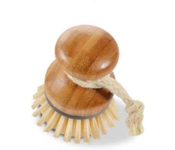 Merkloos afwasborstel van bamboe met stevige kunststofborstels, veelzijdige reinigingsborstel voor wastafels, pannen, borden en bestek, ook geschikt als groenteborstel