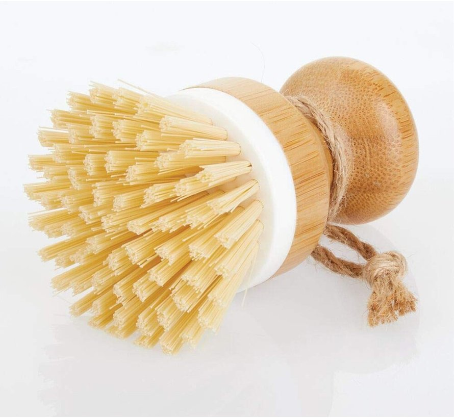 bamboo dish brush with sturdy plastic bristles, versatile cleaning brush for sinks, pans, plates and cutlery, also suitable as a vegetable brush